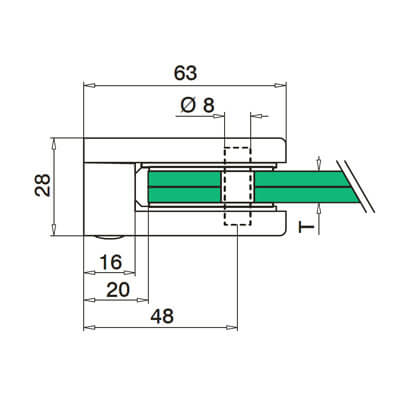 Glass Clamp Flat Mount Dimensions