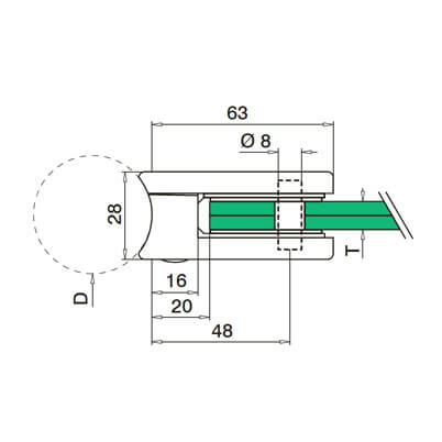 Zintec Glass Clamp Dimensions